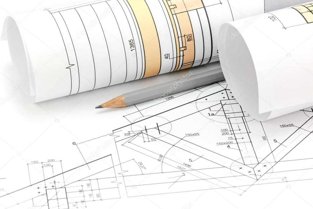Architectural project drawings blueprint roll and house plan architectural blueprints and house plan with pencil closeup photo by mrtwister malvernweather Images