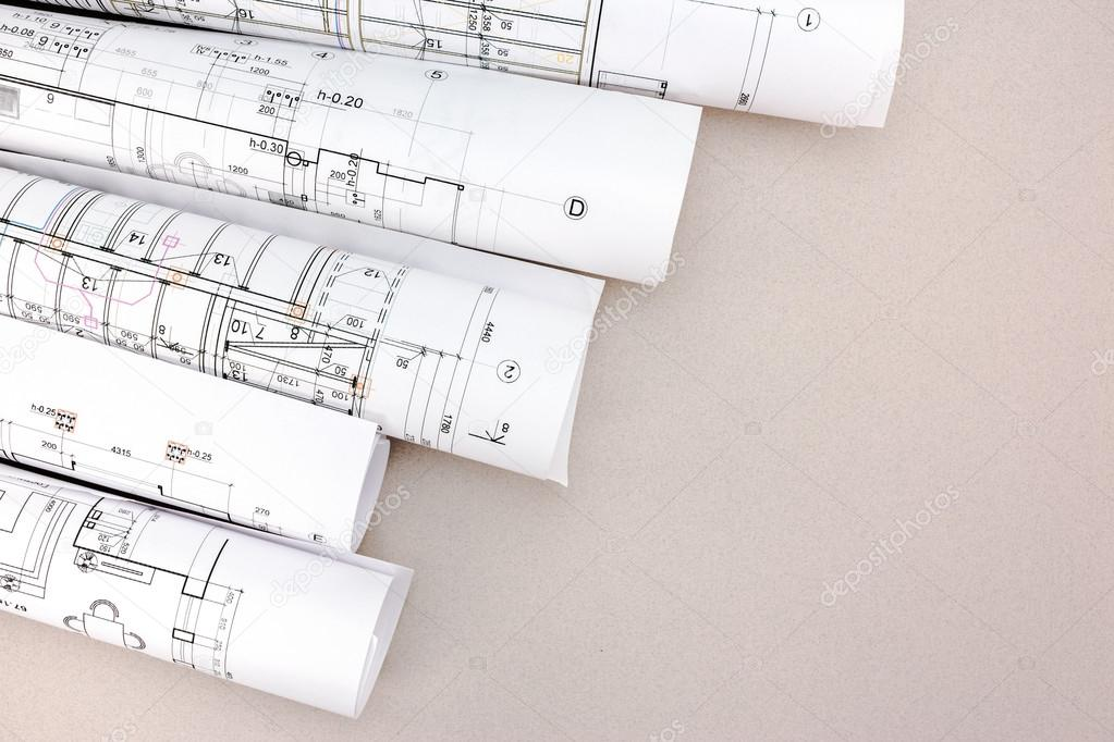 Architect work table with blueprint rolls stock photo mrtwister architect work table with blueprint rolls stock photo malvernweather Image collections