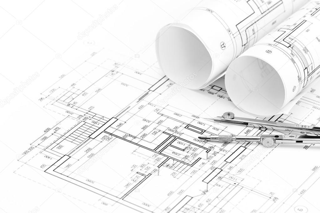 Rollos de planos arquitect nicos y plano con el dibujo de for Dibujos de muebles para planos arquitectonicos