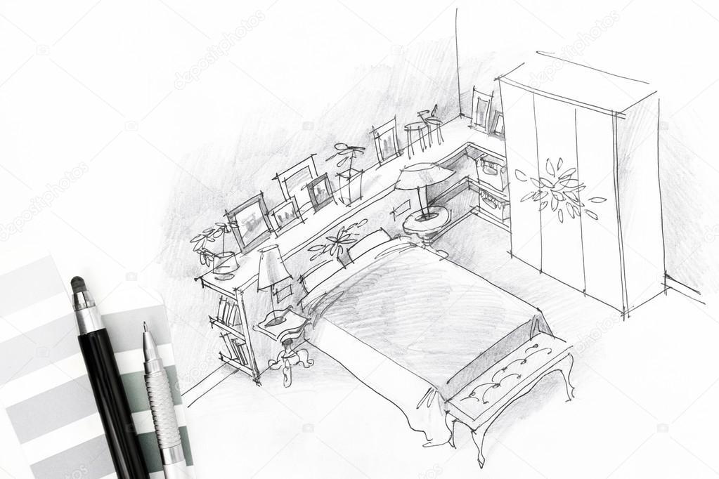 Intérieur esquisse d\'une chambre avec les outils de dessin ...