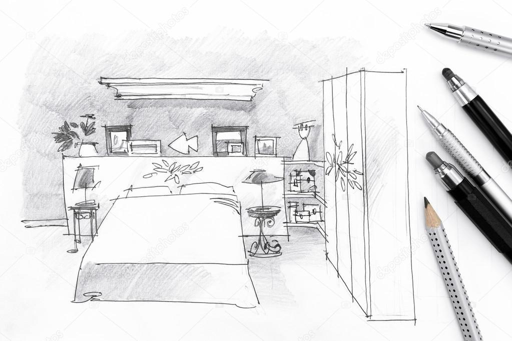 intérieur esquisse d\'une chambre à coucher avec des crayons sur ...