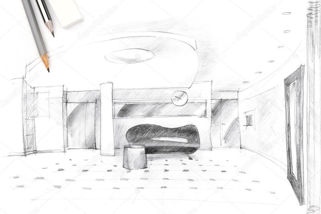 interieur schets van een hal met hulpmiddelen voor tekenen ...