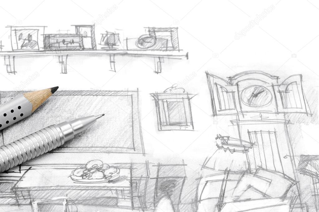 Dibujo de muebles de sala con l pices de la mano foto de for Interieur tekenen