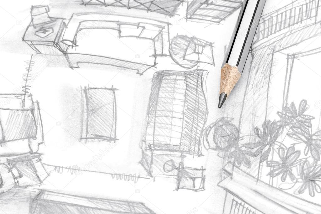 Grafische Skizze Der Wohnzimmer Möbel Mit Bleistift Ansicht Von