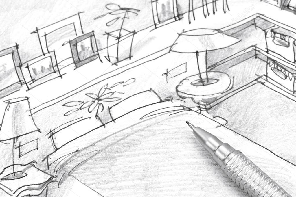 dibujo de muebles para el dormitorio de lápiz closeup monocromo ... - Dibujo De Muebles