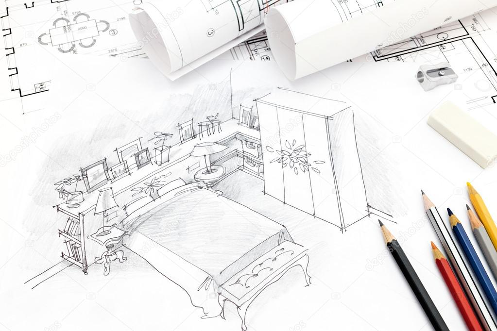 slaapkamer interieur hand tekenen met blauwdruk, rollen en ...