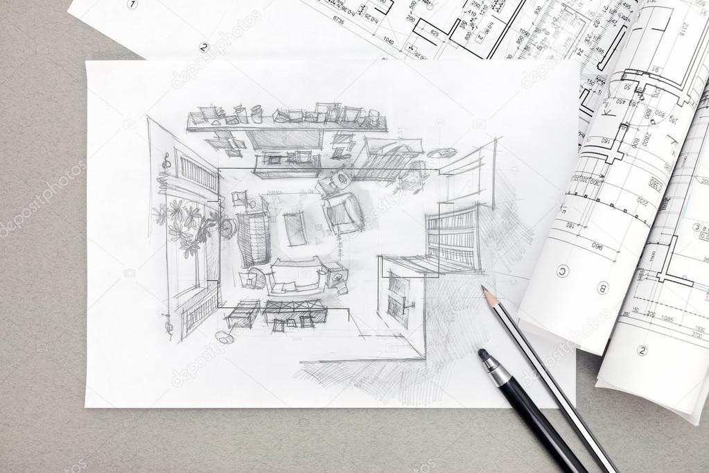 Architettura disegno del salotto con la matita schizzo a for Disegno del piano di architettura