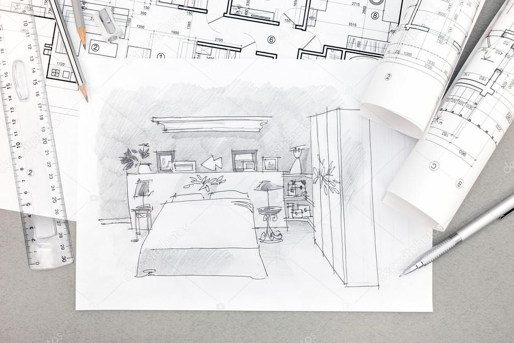 handgetekende illustratie van slaapkamer interieur met hulpmiddelen ...