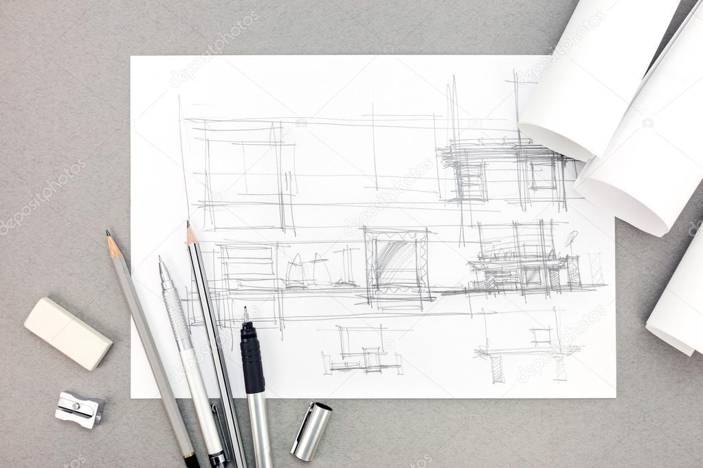 interieur hand tekenen renovatie concept met papierrollen en pe ...