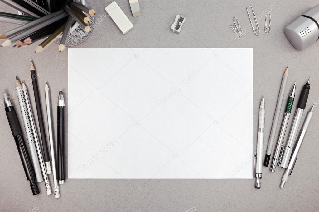 office drawing tools. Office Workspace With Blank Paper Sheet And Various Drawing Tool \u2014 Stock Photo Tools G