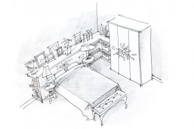 freehand pencil drawing of bedroom interior, black and white