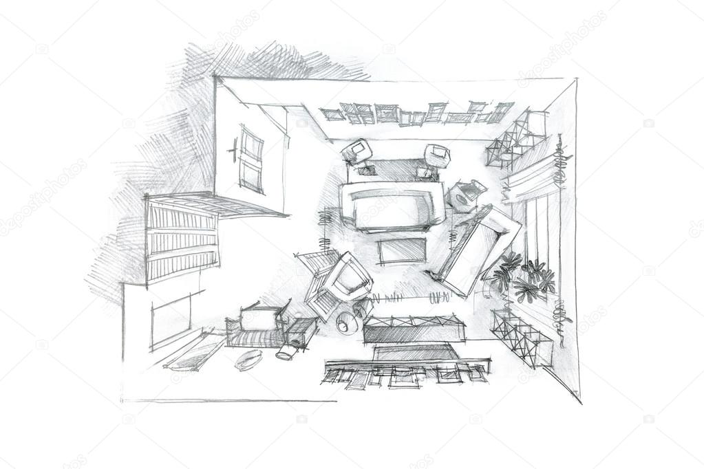 Top View Pencil Drawing Of Living Room In Black And White Stock Photo 116842306