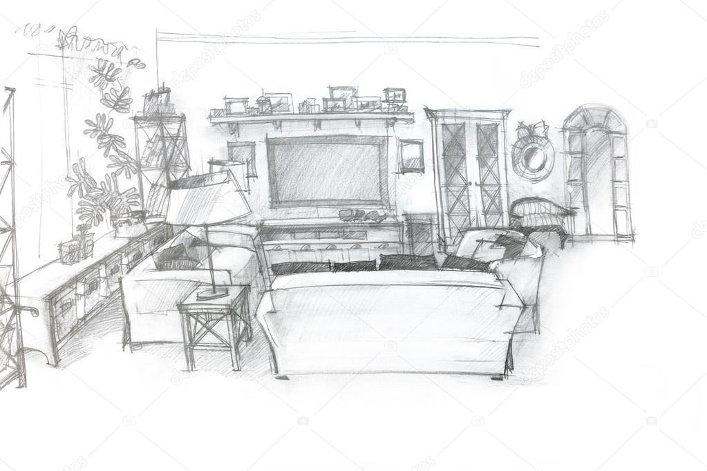 Serbest kroki perspektif izim oturma odas mimari stok for Croquis un libro de arquitectura para dibujar pdf