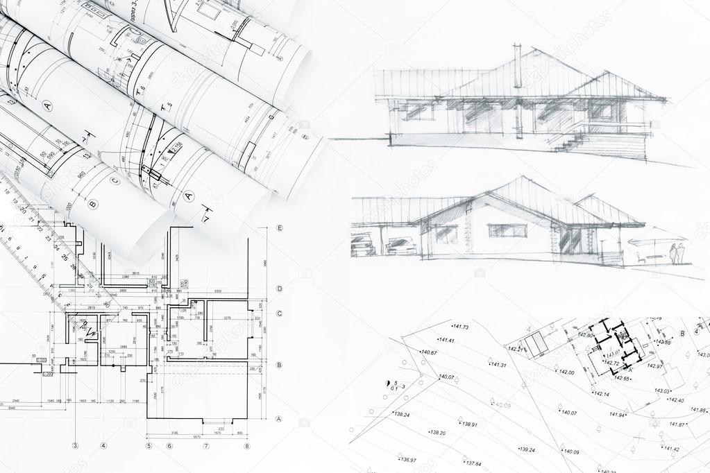 Architectural Concept Drawing With House Plan Blueprints U2014 Foto Von  MrTwister