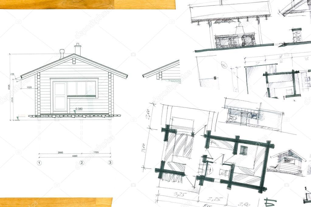 Dibujos y bocetos del plano de la casa foto de stock for Renovation drawings