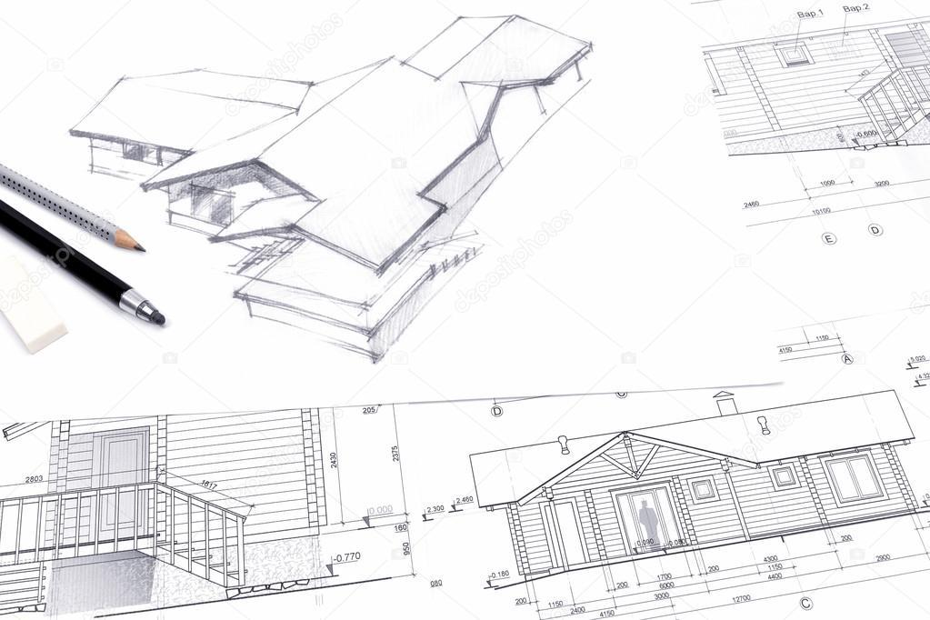 Architekten Zeichnen Eine Skizze Mit Bleistift Stockfoto