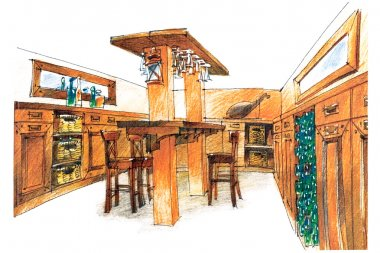 watercolor sketch of an apartment interior