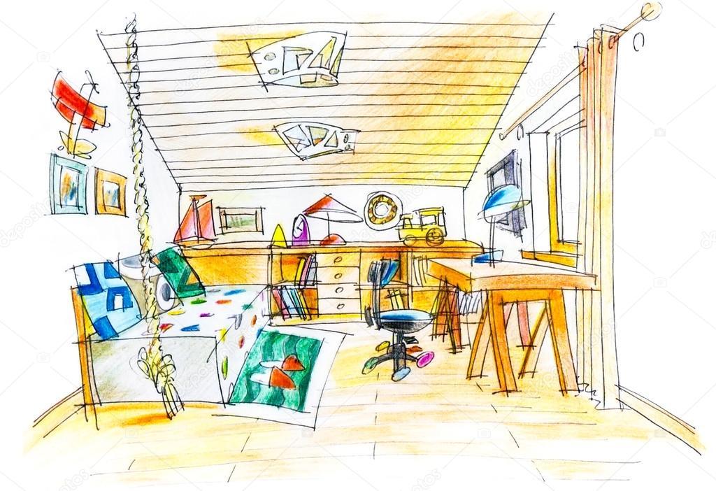 dessin à main levée d\'une chambre d\'enfant — Photographie MrTwister ...