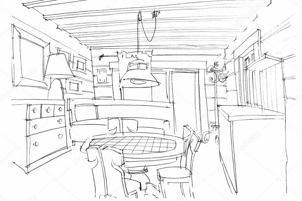 hand schetsen van een moderne keuken interieur — Stockfoto ...