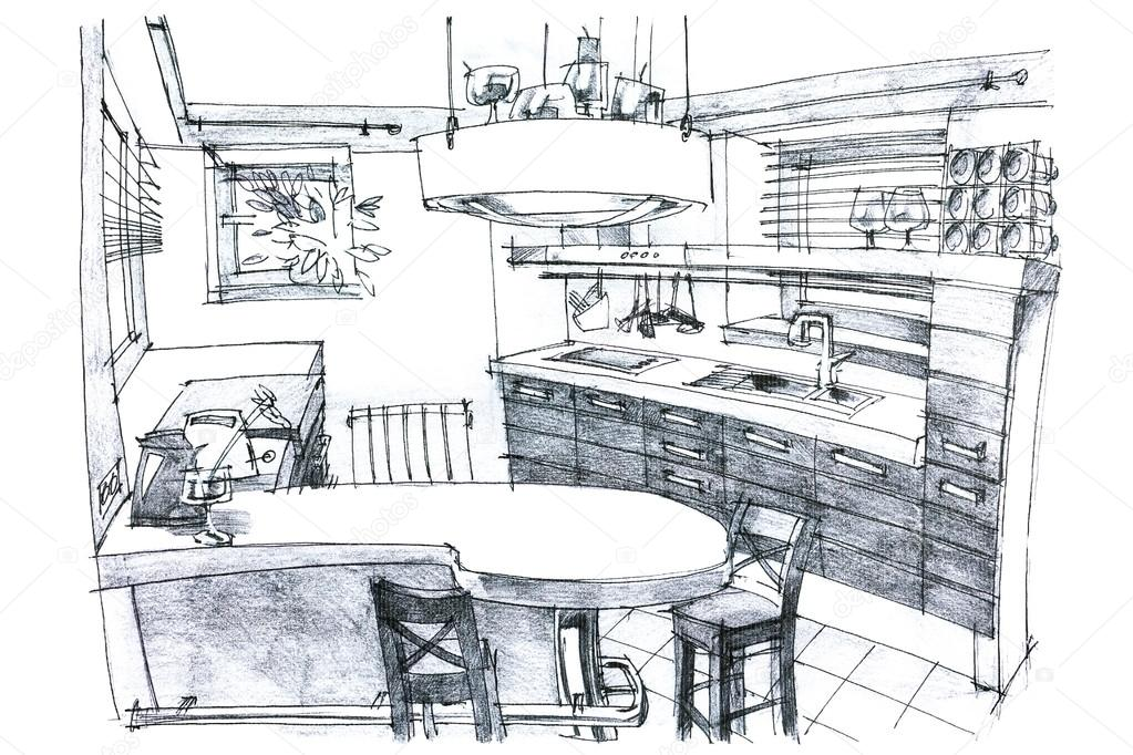 Inneren Hand Zeichnen Perspektive Eine Stilvolle, Moderne Küche In Schwarz  Und Weiß Mit Möbeln U2014 Foto Von MrTwister. Ähnliche Bilder Suchen
