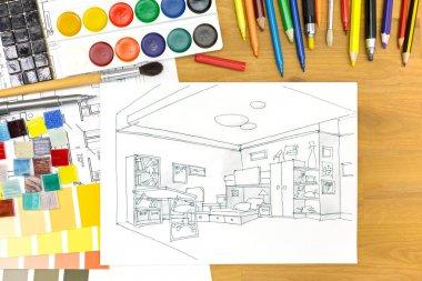 designers workplace arrangement image