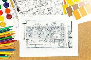 working arrangement of an architects desk