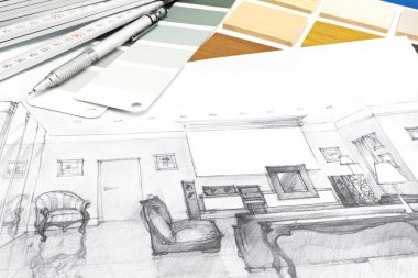 Designers workplace with sketch and drawing tools
