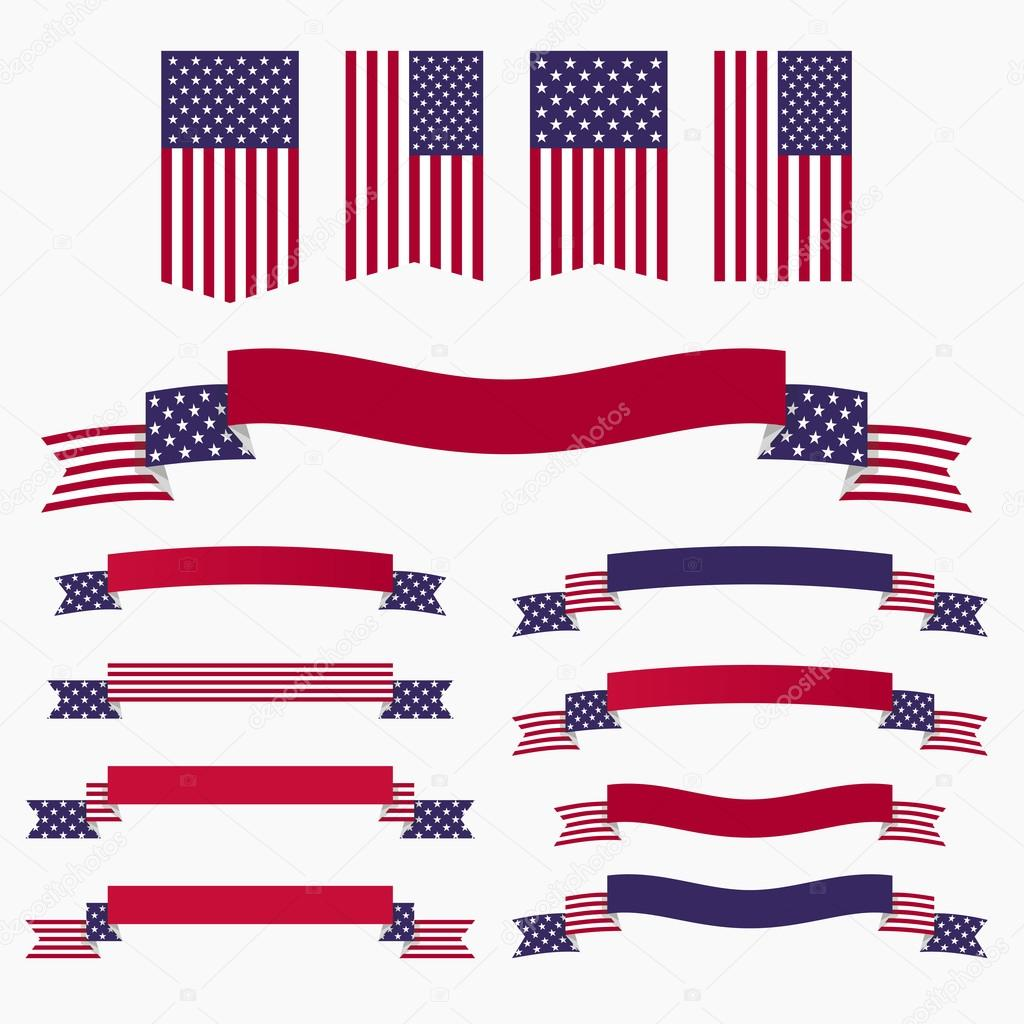 Red white blue american flag, ribbons and banners — Stock ... - photo#19
