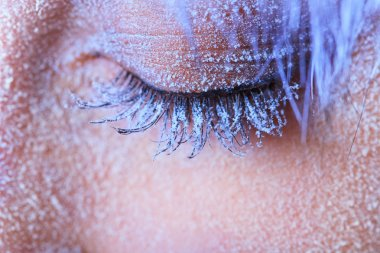 Frozen woman's eye