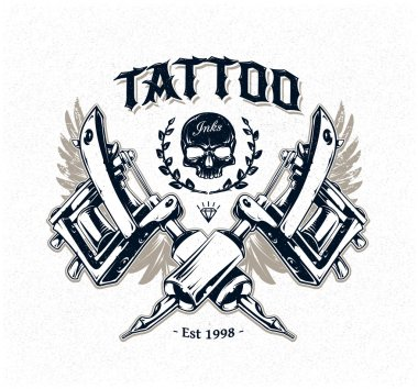 Cool authentic tattoo studio poster template with tattoo machines and classic typography. Vector illustration. stock vector