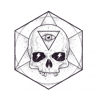 Abstract Hipster Skulls Art