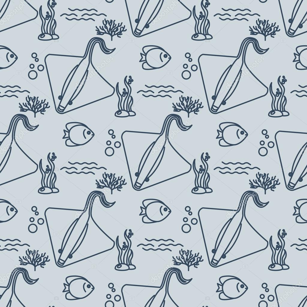 Seamless pattern with stingrays and fishs