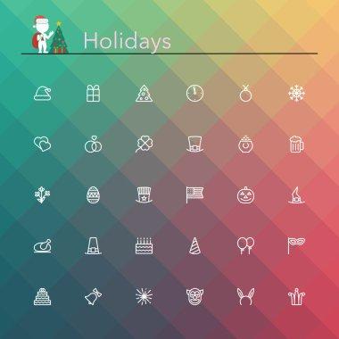 Holidays Line Icons