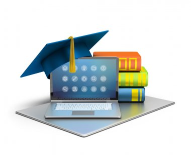 3d image. Laptop, hat and books. The concept of computer education. Isolated white background. stock vector