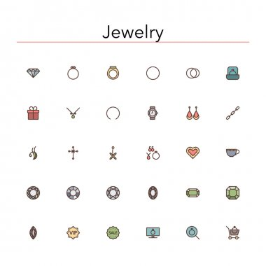 Jewelry Colored Line Icons