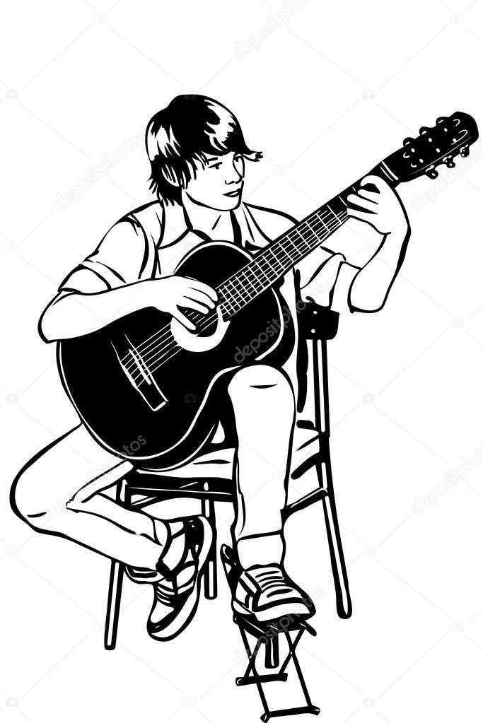 joven sentado en la guitarra acústica toca música — Vector de stock ...
