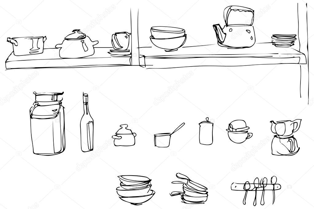Vector Sketch Of Kitchen Utensils In The Range Of Wallpaper Stock