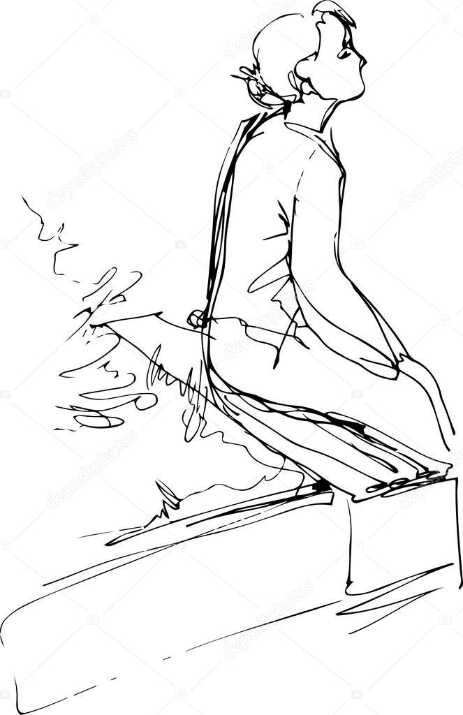 Desenho De Uma Pessoa Sentada Triste Mmod