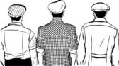Photo sketch of three men in caps turned back