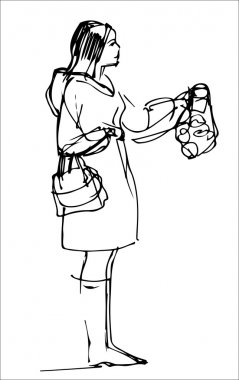 sketch of a girl in a coat buys fruit
