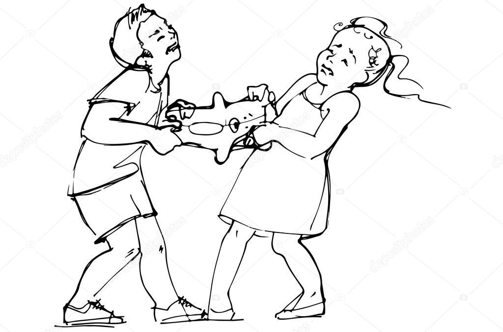 boceto de niño y niñas están peleando por un juguete — Archivo ...