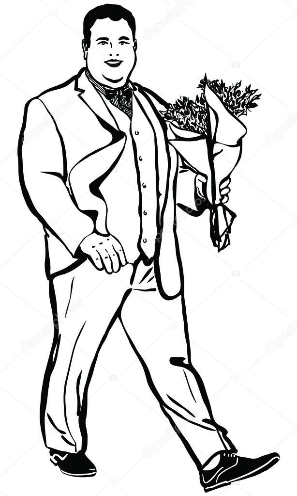 Sketch Of A Fat Man With A Bouquet Of Flowers