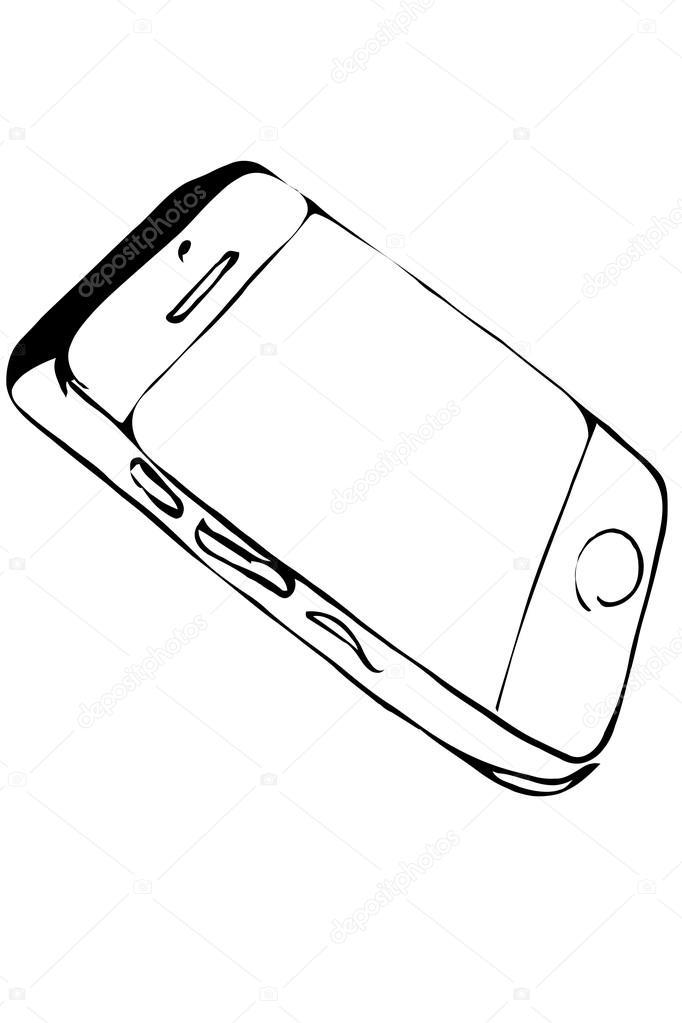 dibujo de tel u00e9fono m u00f3vil de pantalla t u00e1ctil  u2014 vector de