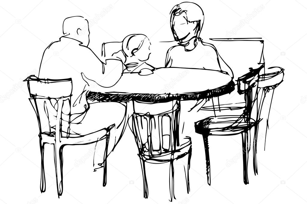 Vector sketch of father and mother with her daughter at a for Silla vater