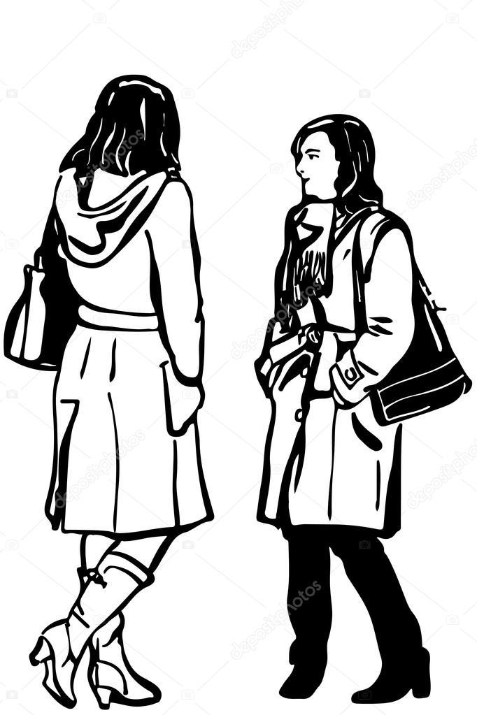 Blanco y negro vector sketch de dos amigos de las mujeres en situación de  abrigo hablando — Vector de Artex67