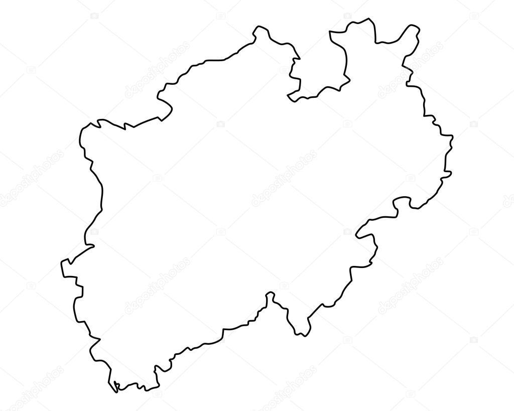 westfalen karta Karta över Northrhine Westfalen — Stock Vektor © rbiedermann  westfalen karta