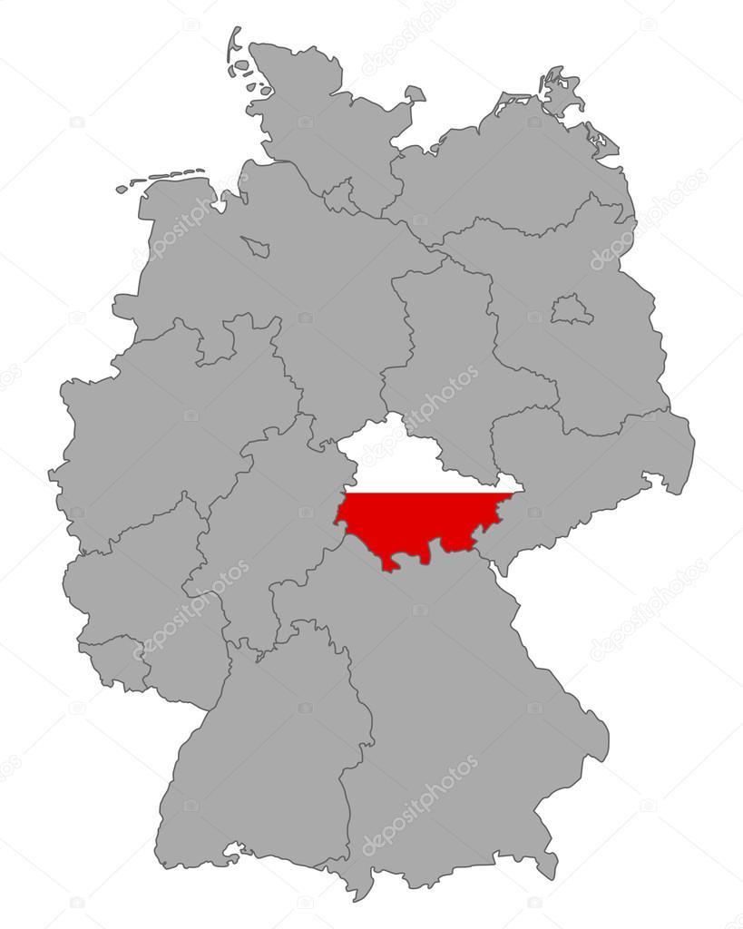 Carte Allemagne Thuringe.Carte De L Allemagne Avec Indicateur De Thuringe Image Vectorielle