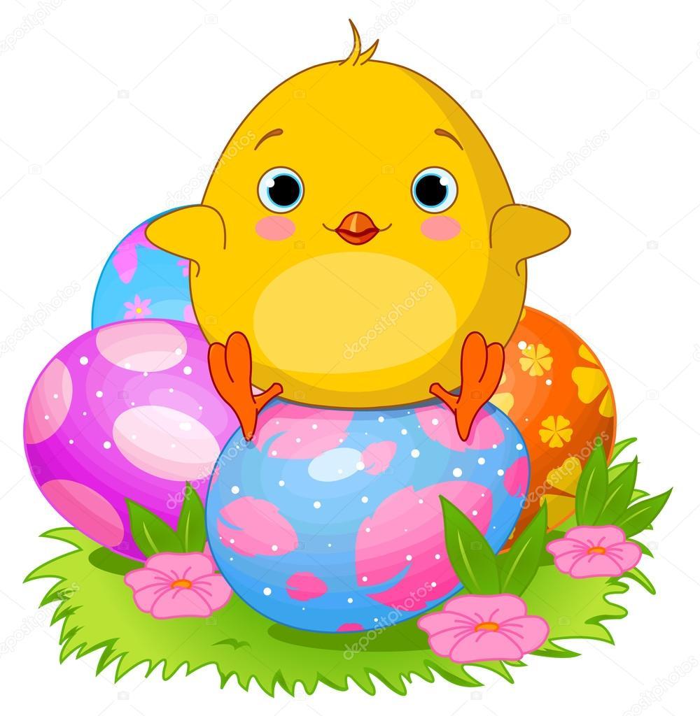 Pollo sentado en los huevos de Pascua — Vector de stock ...