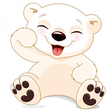 Illustration of white cute polar bear is laughing stock vector