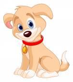 Roztomilé štěně nosí červený límec
